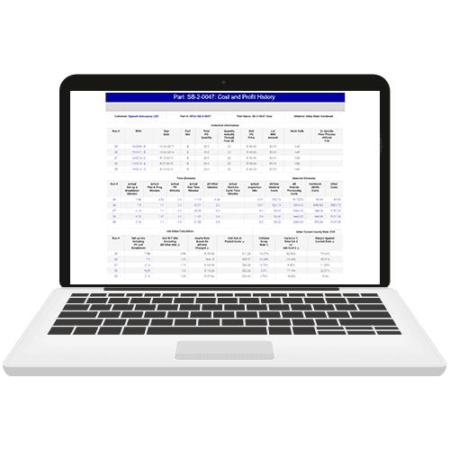 job costing on laptop